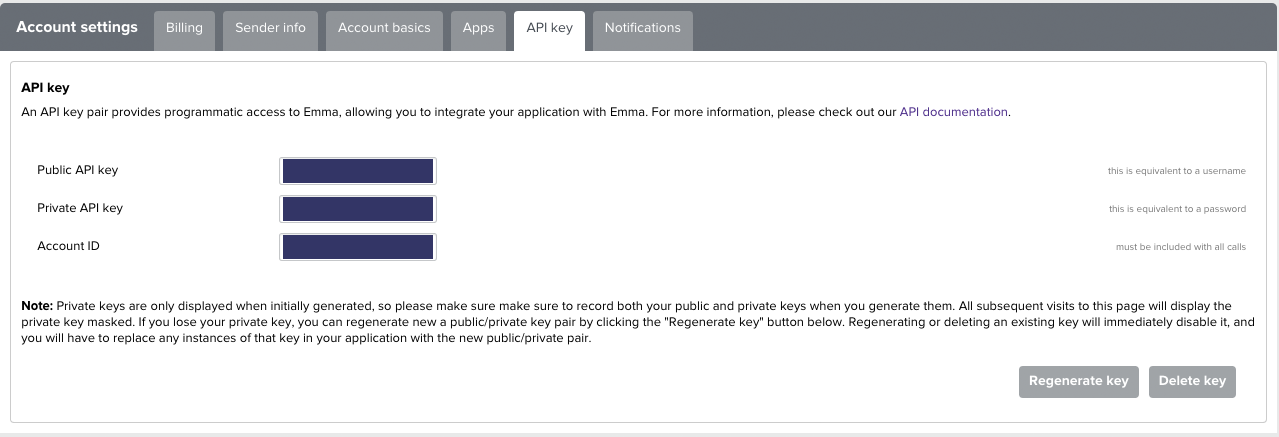 Emma Billing & Settings API Key